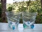 青緑三つ足グラス